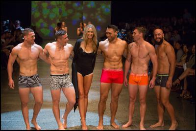 Tawera Kerr-Barlow, TJ Perenara, Nikki Phillips, Victor Vito, Gillies Kaka & DJ Forbes in Jockey at NZFW