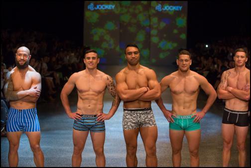 DJ Forbes, TJ Perenara, Victor VIto, Tawera Kerr-Barlow, Gillies Kaka in Jockey at NZFW