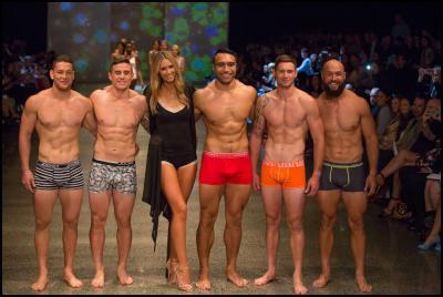 Tawera Kerr-Barlow, TJ Perenara, Nikki Phillips, Victor Vito, Gillies Kaka, DJ Forbes in Jockey at NZFW