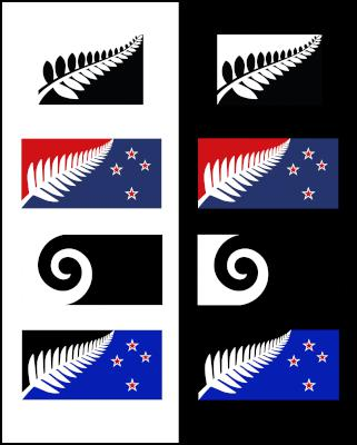 NZ alternative flag option on black and white backgrounds
