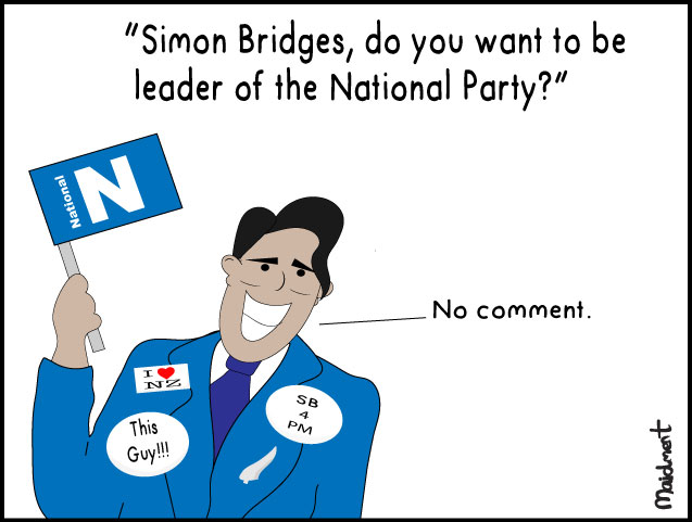 Simon Bridges - Do you want to be leader of the National Party? / Simon (in full campaign mode): No Comment