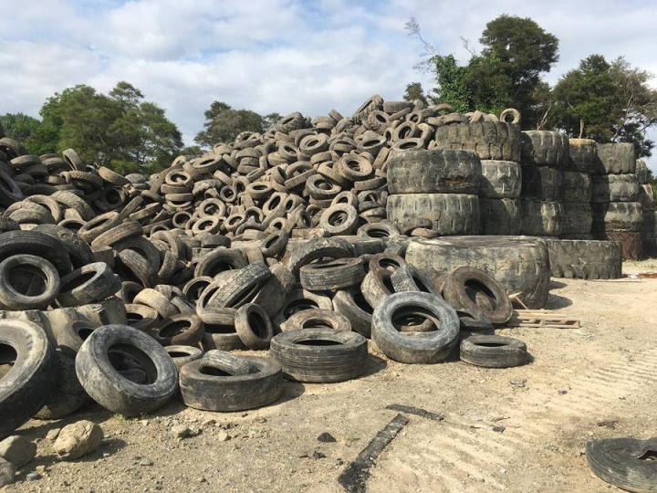 Tyres at the Kawerau site of a failed tyre recycling venue. Photo: Bay of Plenty Regional Council