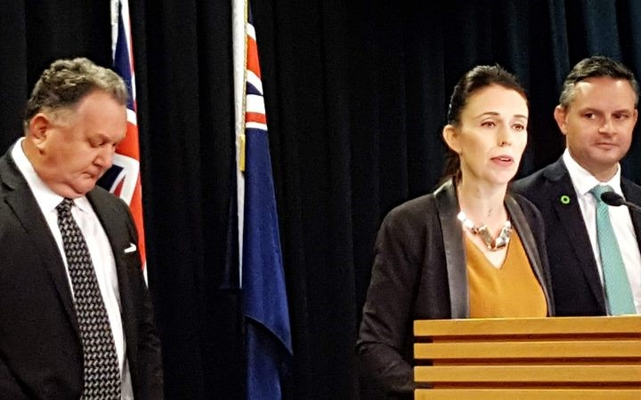 Prime Minster Jacinda Ardern with Regional Development Minister Shane Jones left and Green Party co-leader James Shaw