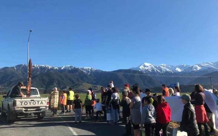 Kaikōura protest against plans for a cycleway which they say will block access Photo: Supplied/Save Mangamaunu