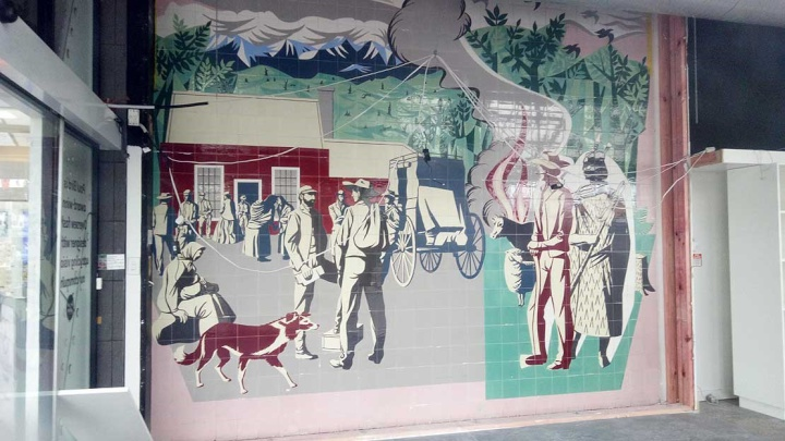 How the re-discovered Early Settlers mural looks after being retrieved from its walled hiding place at the site of the former Masterton Post Office.