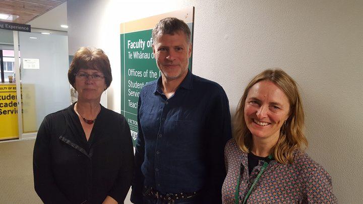 Victoria University academics Sue Cherrington, Michael Wood and Bronwyn Wood. Photo: RNZ / John Gerritsen