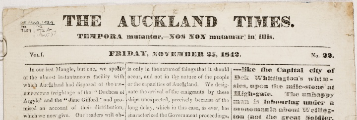 The Auckland Times, 25 November 1842 Image credit: AKTIM_18421125_0001 - Auckland Libraries.