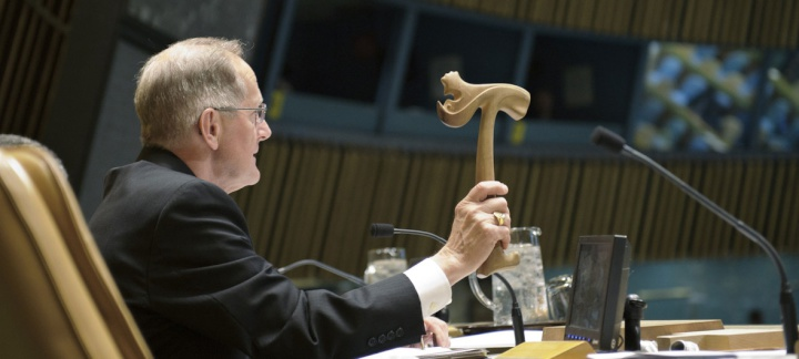 In this photo from 2012, Joseph Deiss, President of the sixty-fifth General Assembly, bangs the gavel, sealing the appointment of Ban Ki-moon to a second term as UN Secretary-General.