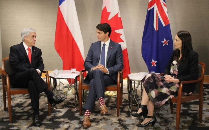 Chilean President Sebastian Pinera and Canada's Prime Minister Justin Trudeau meeting Prime Minister Jacinda Ardern. Photo: Pool