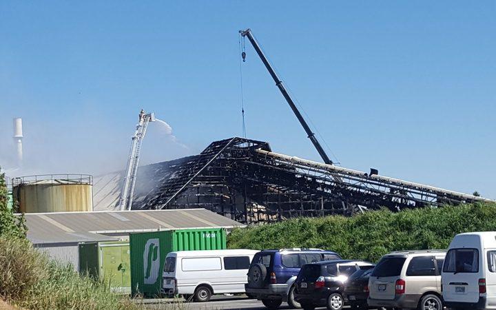 The fertiliser factory was severely damaged in the blaze. Photo: RNZ / Dan Dalgety