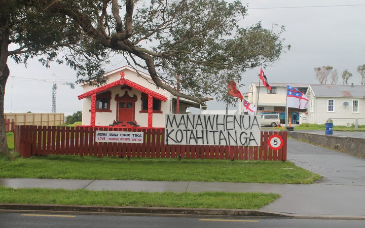 Wharenui that local iwi Ngāti Paoa are living in. Photo: RNZ / Eden More