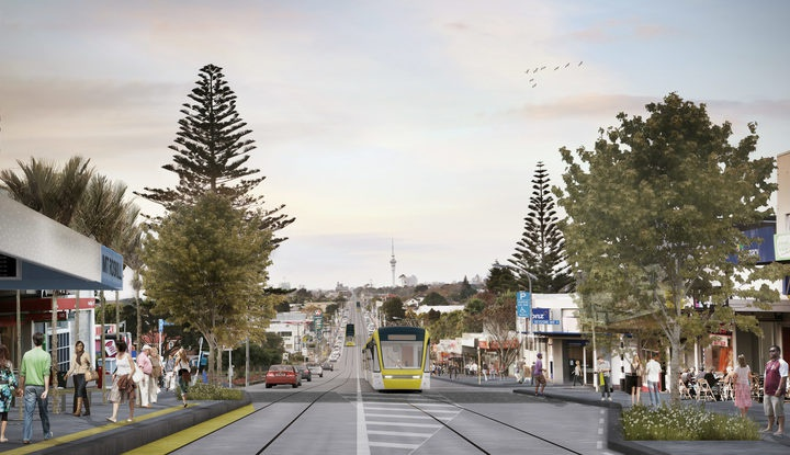 An artists' visualisation for Auckland Transport of light rail in Mt Roskill. Photo: Supplied / Auckland Transport