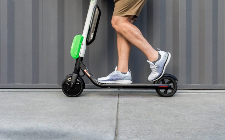 a person on a scooter