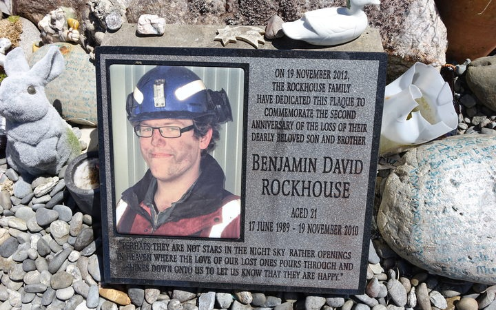 A memorial for Sonya Rockhouse's son, Ben, at Atarau near Blackball. The 21-year-old was among those who died in the Pike River disaster. Photo: RNZ / Conan Young