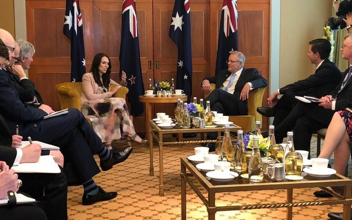 Jacinda Ardern and Australian PM Scott Morrison in Singapore. Photo: RNZ / Gyles Beckford