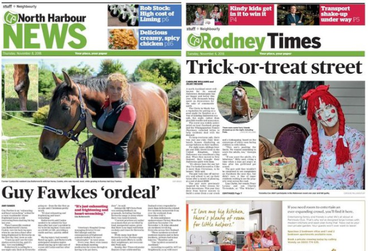 local newspaper front pages for North Harbour News and Rodeney times