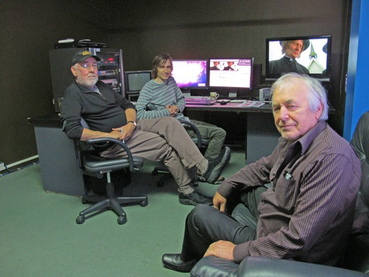 Mike Horton, Jonno Woodford-Robinson and Geoff Murphy in an editing room
