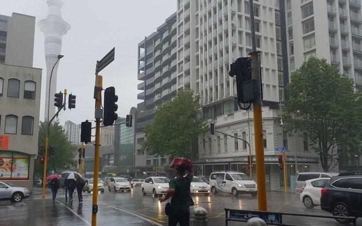 central Auckland street in heavy rain