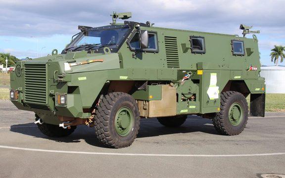 Australia's Bushmaster armoured vehicles arrive at Nadi, Fiji in May 2017 Photo: Facebook/RFMF Media