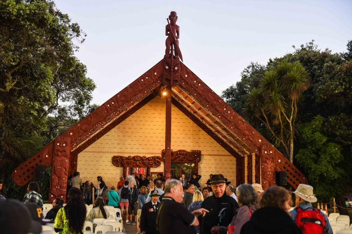 people outside the meeting house at Waitangi