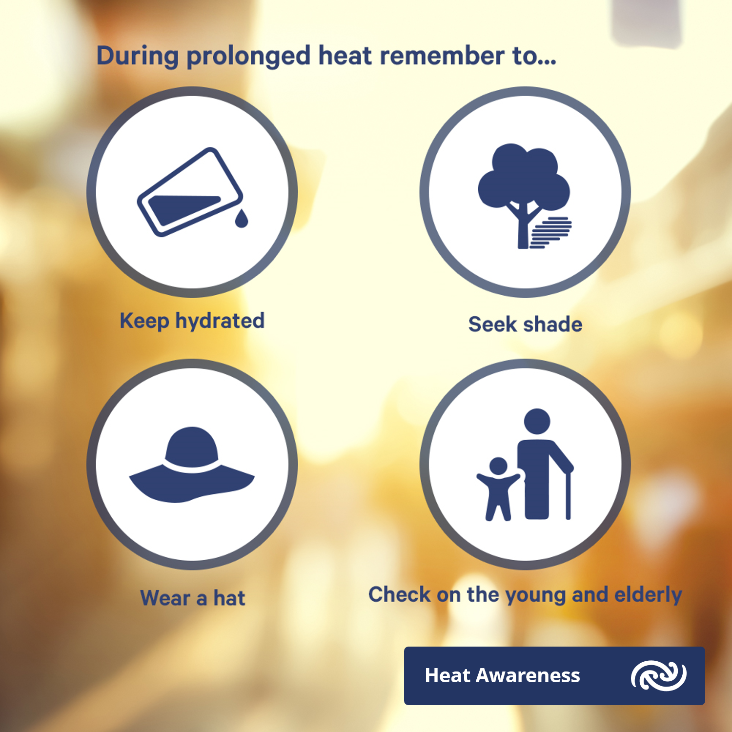 keep hydrated, seek shade, wear a hot, check on the young and elderly