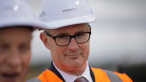 Phil Twyford in a hard hat and safety vest