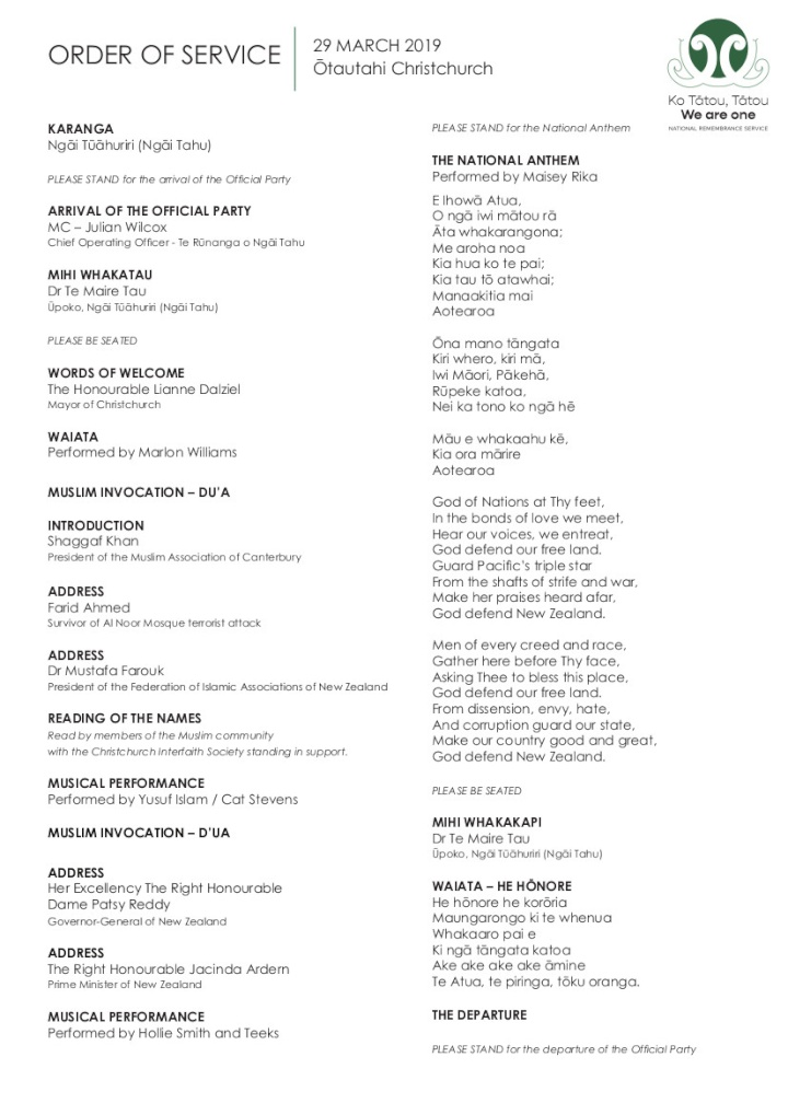 order of service page 1