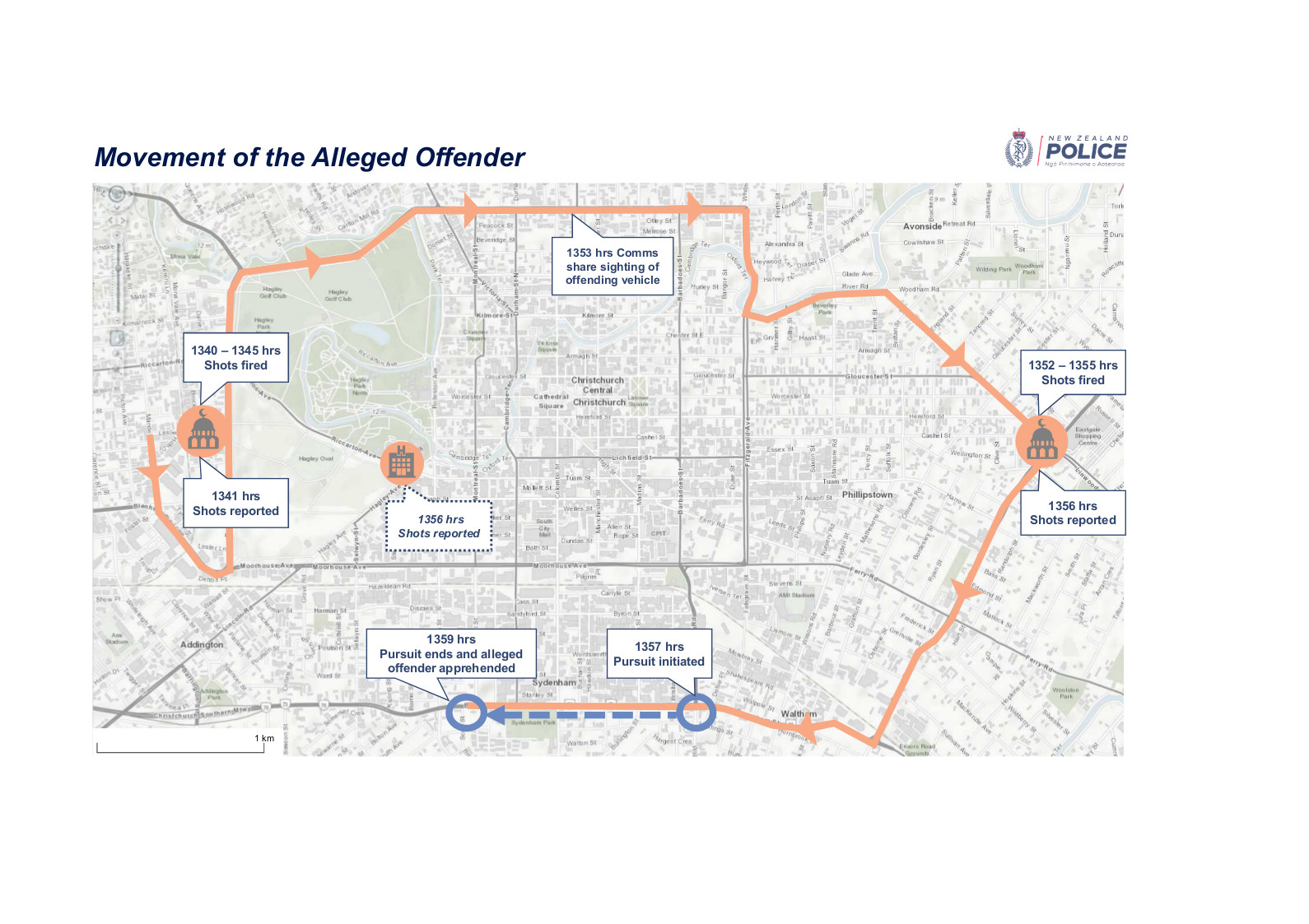 a police map showing events and times of the Christchurch mosque shootings and response