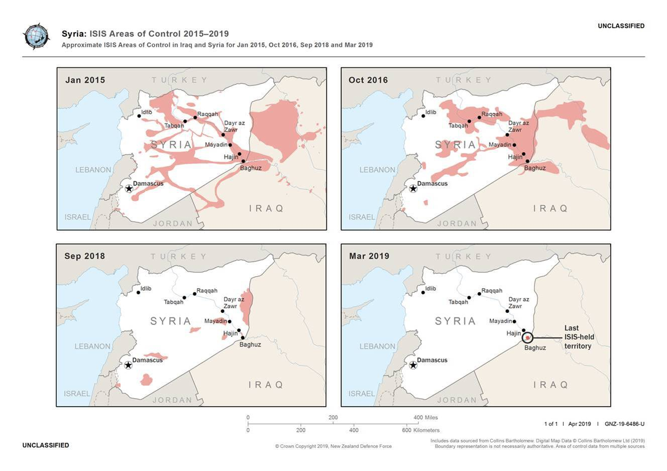 maps showing variation in IS control of Syria, restricted to only Baghuz in March 2019