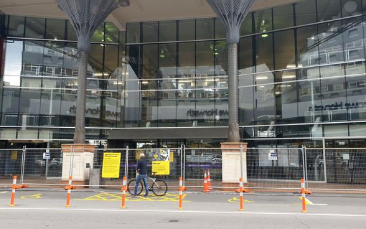 the fenced off main entrance to the central library