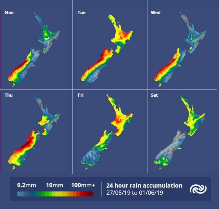 24 hour rain accumulation maps, Monday to Saturday