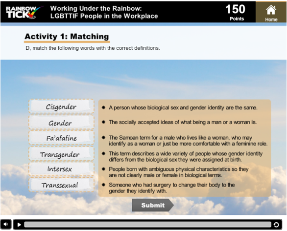 a screen asking the user to match various kinds of gender to thesupplied definitions