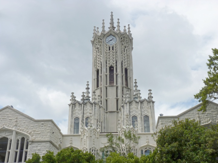 the clock tower of the University of Auckland