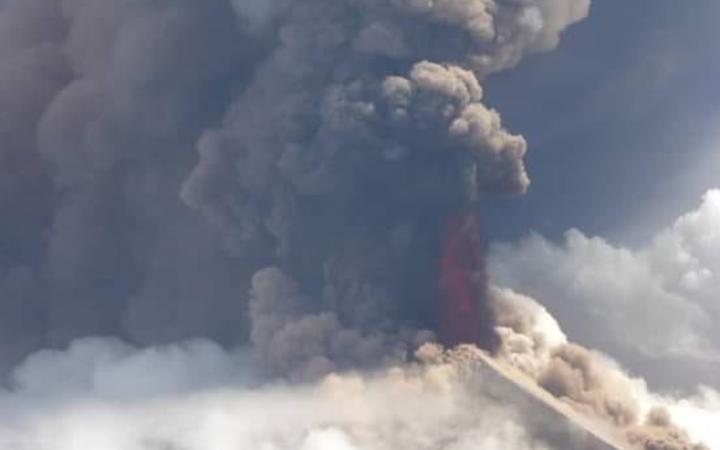billowing volcanic smoke