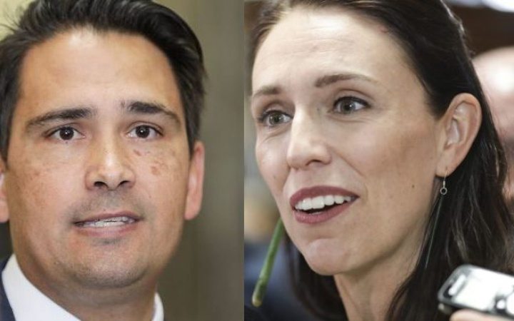 photos of simon bridges and jacinda ardern