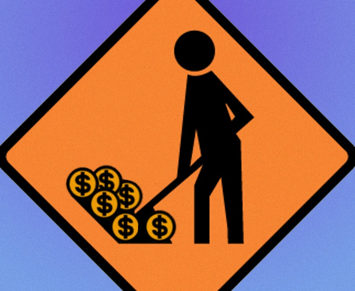 a road works sign but the figure is shoveling money