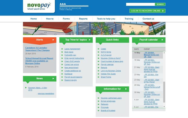 the front page of a website, showing a banner iamge and many text links arranged in categories