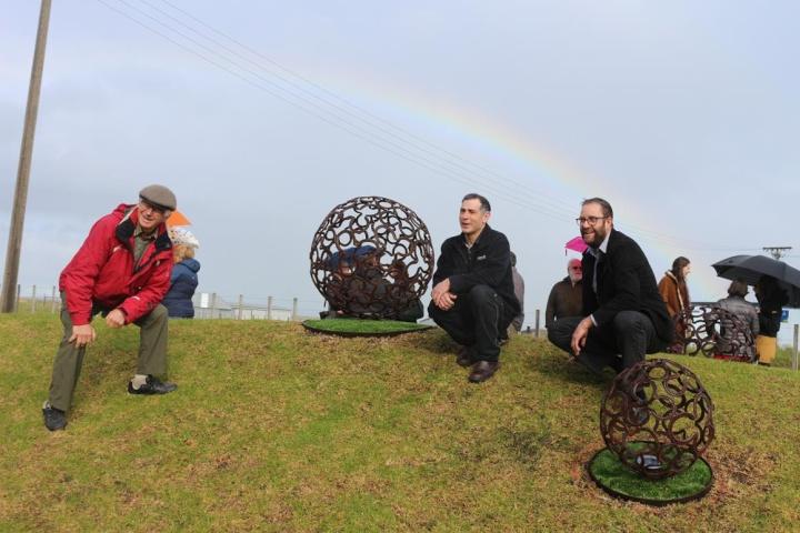 Horseshoe Spheres sculpture rolls onto Hauraki Rail Trail