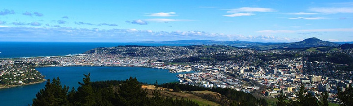 Dunedin, New Zealand, View from Opoho to the City - panorama
