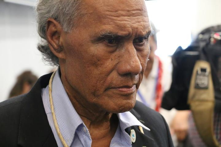 The Tongan prime minister 'Akilisi Pohiva at the 2019 Pacific Islands Forum summit in Tuvalu