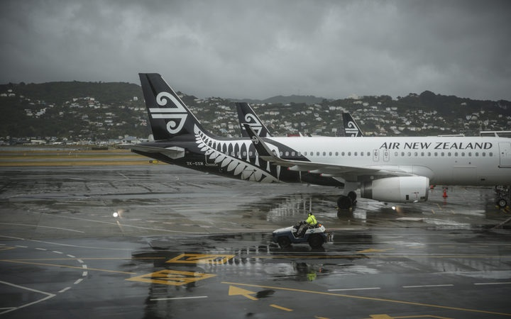 Air New Zealand planes on the ground at Wellington Airport