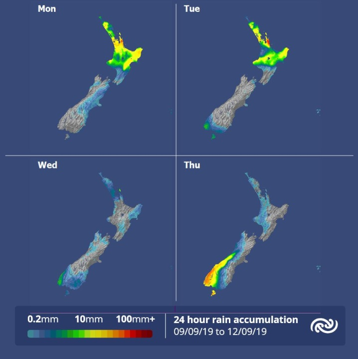 maps show rain in the north Mon, Tue and in Fiordland Thurs