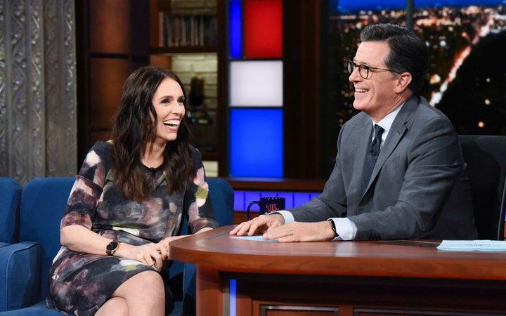 Jacinda Ardern and Stephen Colbert