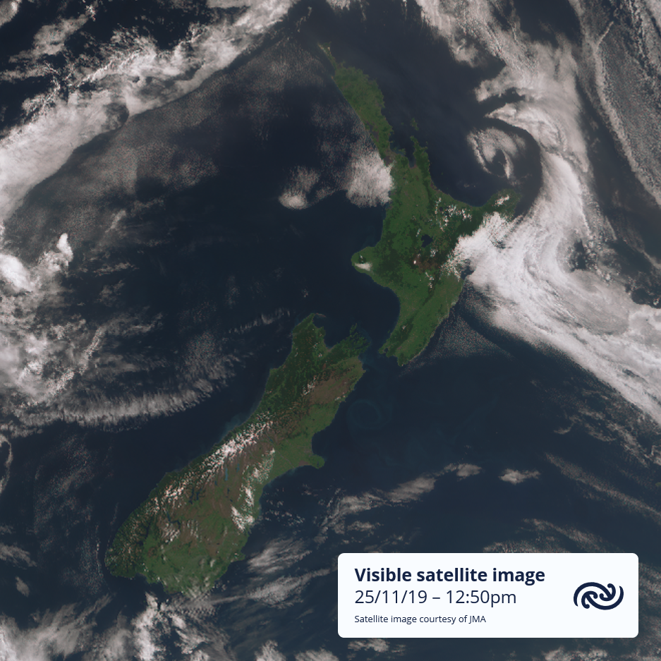 satellite image for 25/11/19, showing one front to the west of the north island and another touching the east