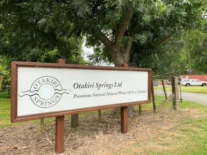 sign for Otakiri Springs bottling plant