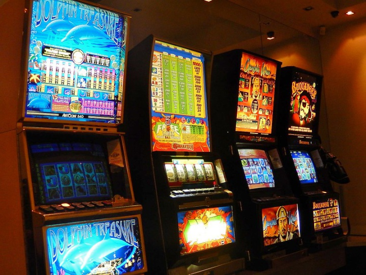 a bank of four poker machines